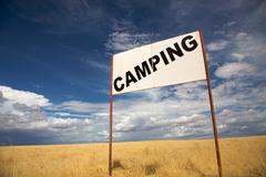Camping signboard - stock photo