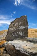 Keep our desert clean - stock photo