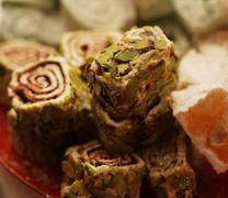 Turkish delight with pistachio nuts Stock Photos