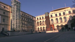 Scene of the Reina Sofia museum exterior in Madrid, Stock Footage