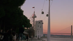Vasco da Gama Tower, the Myriad Hotel, the aerial tramway,Lisbon, Portugal Stock Footage