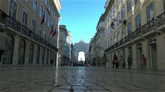 Stock Video Footage of People and tourists walks on Augusta Street,Lisbon, Portugal,