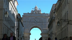 People and tourists walks on Augusta Street,Lisbon, Portugal, Stock Footage