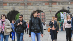 Gdansk, Poland. Tourists walking in the old town. Green Gate in the background. Stock Footage