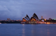Stock Video Footage of Sydney Opera House dusk hyperlapse