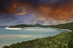 Colors of Whitehaven Beach, Australia - stock photo