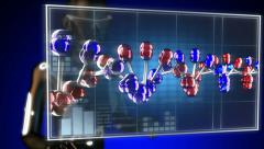DNA model on hologram Stock Footage