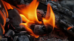 Fire, Natural Wood Planks and Logs Burning 14 Stock Footage