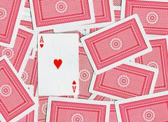 Playing cards, Ace of hearts Stock Photos