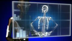 human radiography scan on hologram - stock footage