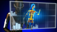 Stock Video Footage of cute woman radiography on hologram