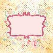 Vintage polka dot frame with rose flower. EPS 8 - stock illustration