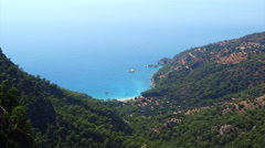 Mediterranean sea landscape view of beach kabak bay turkey Stock Footage