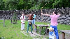 Archer of ancient Kyiv international tournament in Kiev, Ukraine. Stock Footage