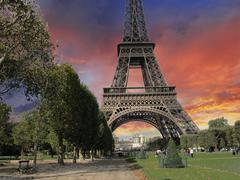 Eiffel Tower from Parc du Champs de Mars Stock Photos