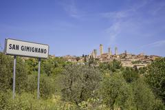San gimignano with road sign Stock Photos