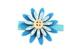 blue of artificial flower hairpin isolated on white. - stock photo