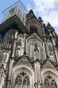scaffold at left spire of the cologne cathedral - stock photo