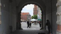 Gdansk, Poland. View from the Green Gate to the Long market in the old town. Stock Footage