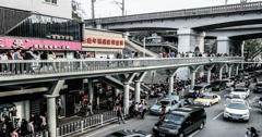 4k,The transportation under the Wuhan Changjiang Bridge, China Stock Footage