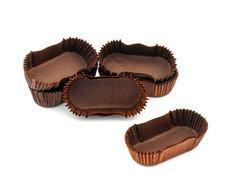 Stock Photo of Brown chocolate rectangular baking paper cups