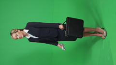 Green screen full shot business woman Stock Footage