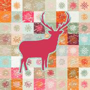 Greeting card with reindeer. EPS 8 Stock Illustration