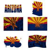 arizona flag collage - stock illustration
