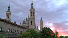 Basilica by the river - sunset with clouds Stock Footage