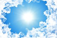 Sun in bright blue sky Stock Illustration