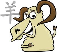 Goat or Ram Chinese horoscope sign Stock Illustration