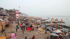 Ganges River Coast Varanasi Benares Stock Footage