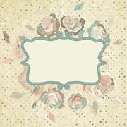Grunge dots background with roses. EPS 8 Stock Illustration