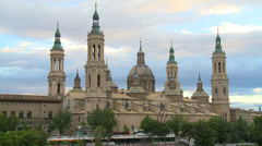 Baroque Basilica with cloudy sky at sunset Stock Footage