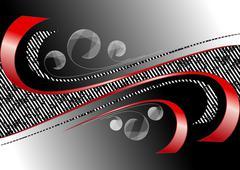 Stock Illustration of Red curves strips on satin black background