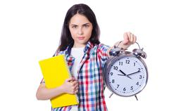 Student failing to meet deadlines for her studies Stock Photos