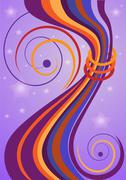 Abstract colorful curved bars and stars - stock illustration