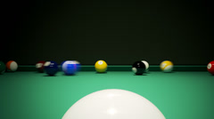 Breaking the rack in pool. Billiards shot cue ball Stock Footage