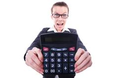 Funny accountant isolated on the white background Stock Photos