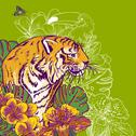 Stock Illustration of Tropical Exotic Floral Background with Tiger