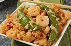 Shrimp stir fry - stock photo