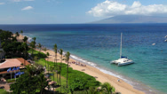 Stock Video Footage of Catamaran on Kaanapali Beach 1