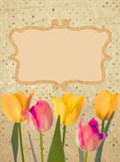 Paper beautiful tulips with polka dot. EPS 10 Stock Illustration