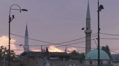 Sarajevo old town minarets at sunset Stock Footage