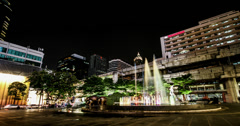 4k, The fountain outside the shoppingmall in bangkok downtown at night, Thailand Stock Footage