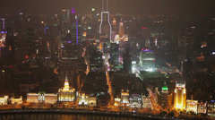 Timelapse of cityscape of Shanghai at night , Shanghai, China Stock Footage