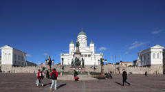 Senate Square, Helsinki, Finland Stock Footage
