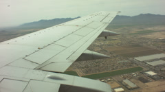 Boeing 737-800 wing flying over arizona Stock Footage