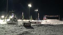 Snowcat Grooming Track Stock Footage