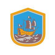metallic sailing ship galleon crest retro woodcut - stock illustration